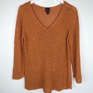 EILEEN FISHER Burnt Orange V-neck Sweater Sz L